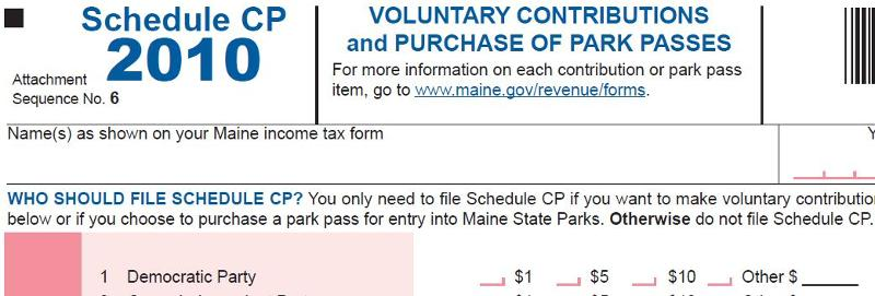 Maine Income Tax Form, Schedule CP